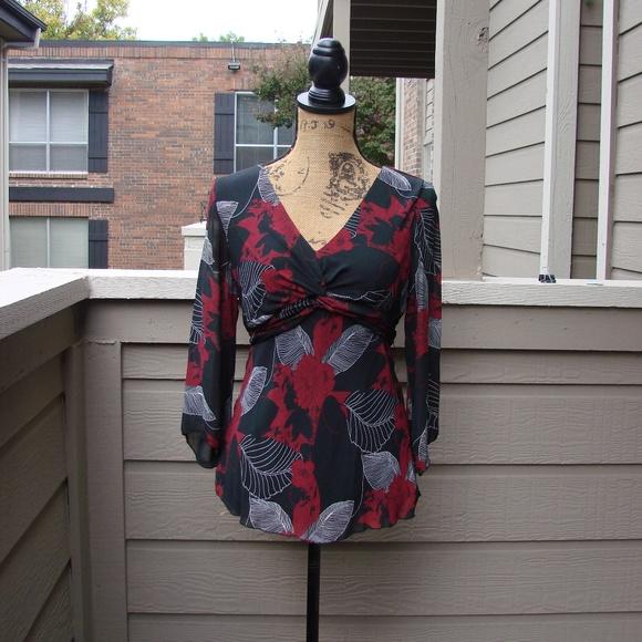 1745509f1 Dress Barn Tops | 1482 Red Black Floral Blouse Sz M | Poshmark